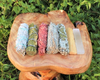 Smudge Kit + Selenite: White Sage, Black Sage, Blue Sage, Cedar Sage, Dragons Blood Sage, Palo Santo & Selenite Stick (7 Stick SAMPLER)