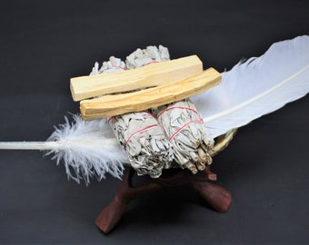 "Smudge Kit - Premium Abalone Shell, 2 White Sage Smudge Sticks, 2 Palo Santo Wood, Smudging Fan (Feather), 6"" Tripod Stand and Directions"