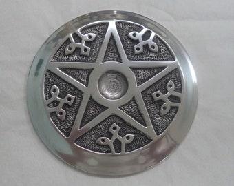 """Incense Burner: Aluminium 4.5"""" Round with Pentagram for Cones & Sticks (Altar Tile)"""