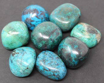 Chrysocolla Tumbled Stones, Large: Choose How Many Pieces ('A' Grade, Tumbled Chrysocolla)