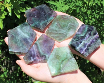 Fluorite Slab / Fluorite Slice: Beautiful Polished Fluorite Display Specimens! (Fluorite Tile) Choose Size!