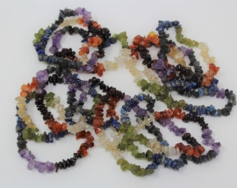 Wholesale Bulk Chakra Chip Gemstone Bracelets (Chakra Chip Bracelet, Stretch Bracelet, Chip Bracelet, Wholesale Gemstone Chip)