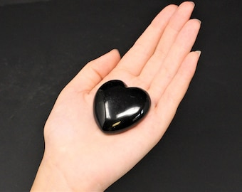 "Black Obsidian Heart Stone: 1.75"" (Crystal Heart, Gemstone Heart, Palm Heart, Puffed Heart, Stone Heart, Carved Heart)"