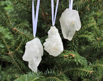 Clear Quartz Cluster Crystal Christmas Ornament - Home Decorations for Holidays - Gemstone Christmas Tree Ornaments (Clear Quartz Crystal)