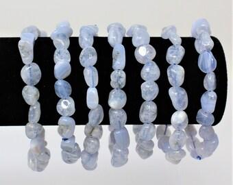 Blue Lace Agate Tumbled Gemstone Bracelet: 6-8 mm Stones (Agate Bracelet, Stretch Bracelet, Tumbled Stone Bracelet, Gift)