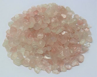 Rose Quartz Semi Tumbled Gemstone Mini Chips 5 - 15 mm: Choose 2 oz, 4 oz, 8 oz or 1 lb Loose Bulk Lots (Rose Quartz Chips)