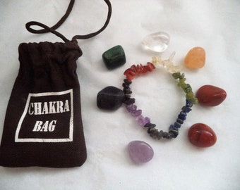 7 Chakra Crystal Healing Stone Set: 7 Tumbled Stones PLUS Carry Pouch PLUS Directions PLUS Chip Bracelet (Healing Stones, Chakra Stones)