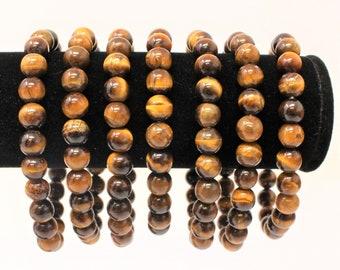 Tiger Eye 8 mm Round Bead Gemstone Bracelet (Gold Tiger Eye, Stretch Bracelet, Crystal Bracelet, Gift)