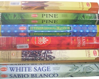 Christmas Incense Set #1: 120 Sticks (20 each of Pine / Clove / Frankincense / / Frank & Myrrh / Cinnamon / White Sage) HEM Brand