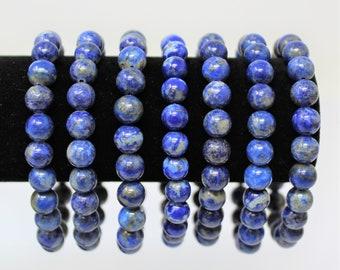 Lapis 8 mm Round Bead Gemstone Bracelet (Lapis Bead, Stretch Bracelet, Crystal Bracelet, Gift)