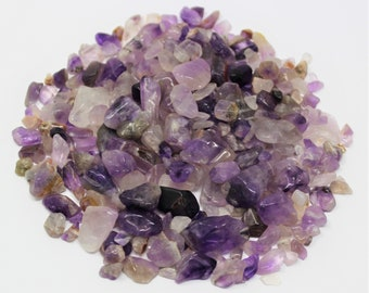 Amethyst Semi Tumbled Gemstone Mini Chips 5 - 15 mm: Choose 2 oz, 4 oz, 8 oz or 1 lb Loose Bulk Lots (Amethyst Chips)