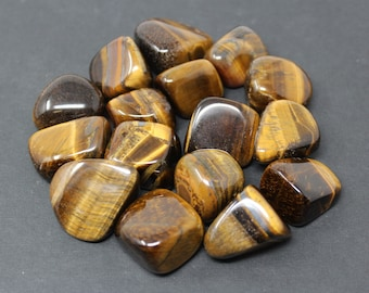 Gold Tiger Eye Tumbled Stones: Choose How Many Pieces ('A' Grade, Tumbled Gold Tiger Eye)