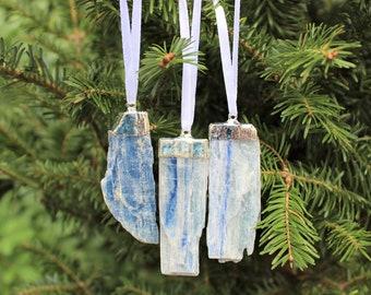 Blue Kyanite Blade Christmas Ornament (Silver Plated) - Home Decorations - Gemstone Christmas Tree Ornaments (Raw Blue Kyanite)