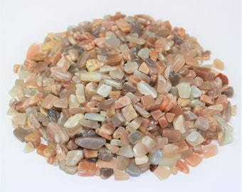 Moonstone Semi Tumbled Gemstone Mini Chips 5 - 15 mm: Choose 2 oz, 4 oz, 8 oz or 1 lb Loose Bulk Lots (Moonstone Chips)