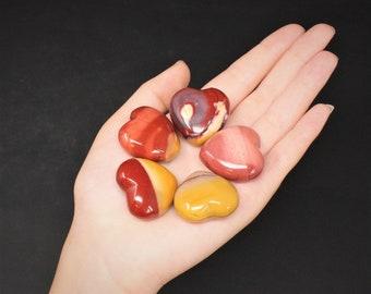 "Mookaite Heart Stone: 1"" (Crystal Heart, Carved Gemstone Heart, Pocket Heart, Puffed Heart, Stone Heart, Mookite, Jasper)"