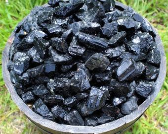 Raw Black Tourmaline Natural Crystals: Choose 4 oz, 8 oz, 1 lb, 2 lb, 5 lb Bulk Lot (Rough Black Tourmaline)