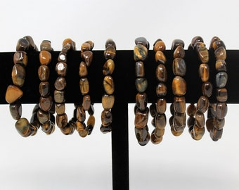 Tiger Eye Tumbled Gemstone Bracelet: 6-8 mm Stones (Tiger Eye, Stretch Bracelet, Tumbled Stone Bracelet, Gift)