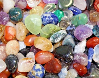 Assorted Mixed Tumbled Stones MEDIUM 1/4 lb Wholesale Bulk Lot (Mixed Tumbled Stones, Assorted Tumbled Stones, 4 oz)