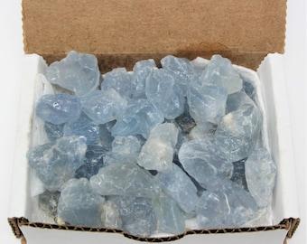 Rough Natural CELESTITE, 10 oz Bulk Box Collection (Celestite Geode, Celestite Cluster, Blue Celestite, Celestite Point)
