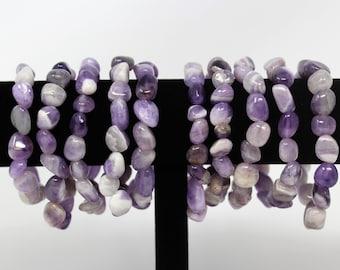 Amethyst Tumbled Gemstone Bracelet: 6-8 mm Stones (Amethyst Stretch Bracelet, Tumbled Stone Bracelet, Gift, Genuine Amethyst Bracelet)