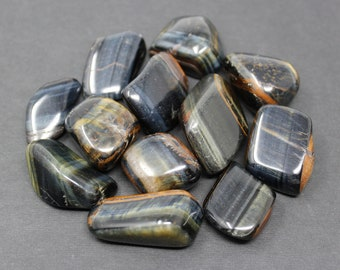 Blue Tiger Eye Tumbled Stones: Choose How Many Pieces ('A' Grade, Tumbled Blue Tiger Eye)