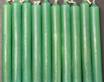 "Green 4"" Chime Candles - Set of 10 Spell Candles (Spell Candles, Candle Magick, Wicca, Pagan, Altar)"
