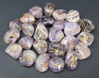 Amethyst Rune Stone Set and Velvet Storage Pouch, NEW (Elder Futhark, Crystal Runestones, Amethyst)