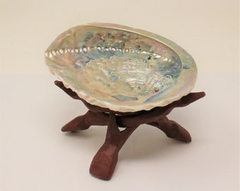 """Smudge Kit - Premium LIGHT Abalone Shell PLUS 6"""" Tripod Stand PLUS Directions (House Cleansing, House Blessings, Smudging)"""