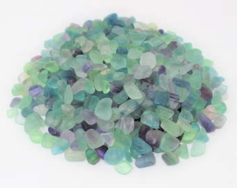 Fluorite Semi Tumbled Gemstone Mini Chips 7 - 9 mm: Choose 2 oz, 4 oz, 8 oz or 1 lb Loose Bulk Lots (Fluorite, Tumbled Fluorite)
