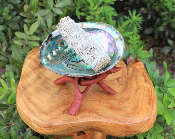 """Featured listing image: Smudge Kit - Premium Abalone Shell, Blue Sage Smudge Stick, 6"""" Tripod Stand and Directions (House Cleansing)"""