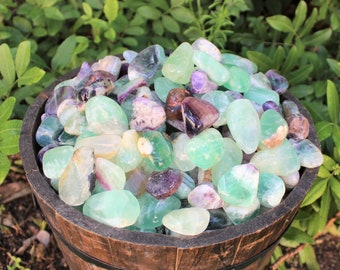 Fluorite Garden Pebbles: Choose 4 oz, 8 oz, 1 lb, 2 lb Bulk Lot (Raw Tumble Fluorite, Rough Fluorite, Tumble Fluorite)