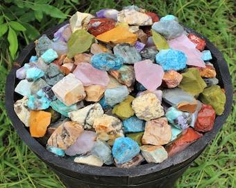 Rough Natural Gemstones, Premium Grade Africa Mix - Beautiful Assortment: Choose 4 oz, 8 oz, 1 lb, 2 lb, 5 lb Bulk Lot