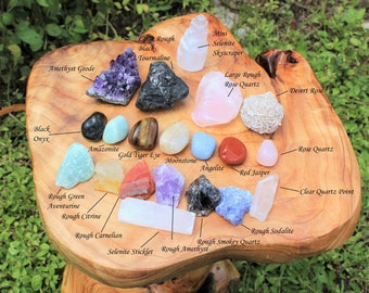Beginners Crystal Kit, 20 pcs - Chakra Protection Healing Sets PLUS Natural Rough & Tumbled Crystal Specimens (Healing Crystals and Stones)