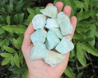 Rough Natural Aquamarine Crystals: Choose How Many Pieces ('A' Grade, Raw Aquamarine, Rough Aquamarine)