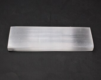 """Polished Selenite Charging Station: 6"""" Flat Crystal Plate (Protection Cleansing Meditation Crystal Healing Chakra)"""