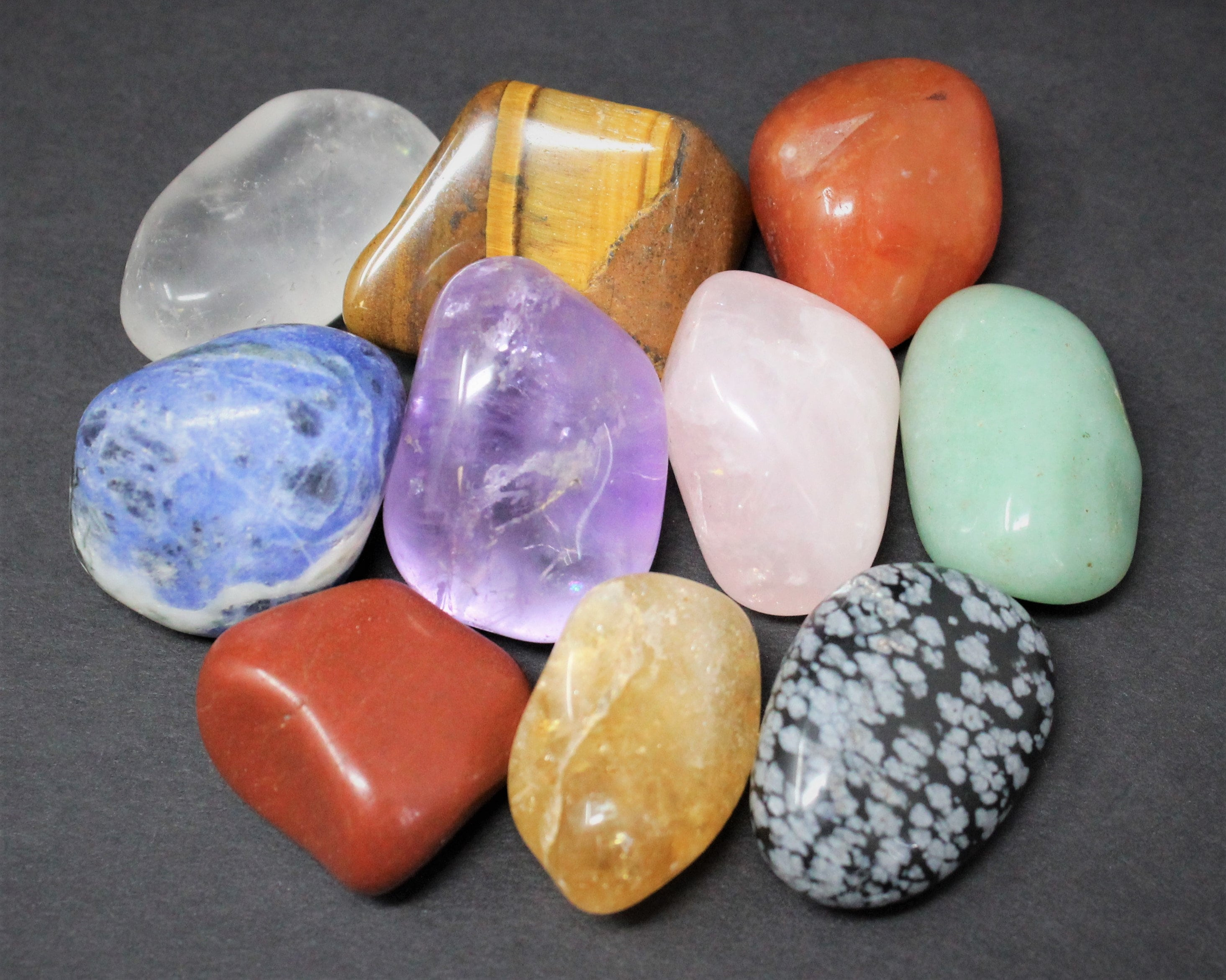 Chakra Set Crystal Tumblestones 7 Piece Large With Velvet Pouch