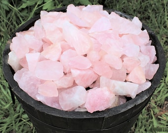 Rose Quartz Rough Natural Stones: Choose 4 oz, 8 oz, 1 lb, 2 lb 5 lb or 11 lb Bulk (Raw Rose Quartz, Rough Rose Quartz, 'A' Grade)