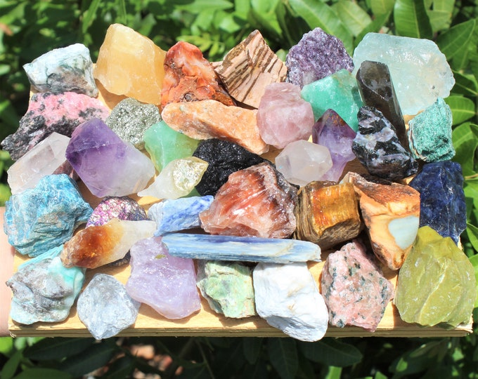Featured listing image: Crafters Collection Mixed Crystals: Bulk Gemstones, Natural Raw Crystals - Choose 8 oz, 1, 2 or 5lb Lots (Loose Gemstone, Assortment)
