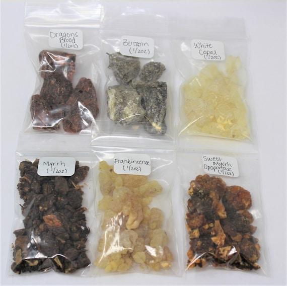 resin incense sampler set and church blends 7 archangels benzoin 1//4 oz packs of most popular reins includes- dragons blend frankincense shaman blend white copal myrrh gold copal 3 kings