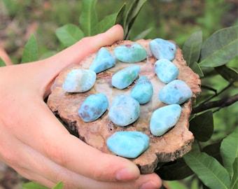 Larimar Tumbled Stones: Choose How Many ('A' Grade, High Quality Tumbled Polished Larimar)