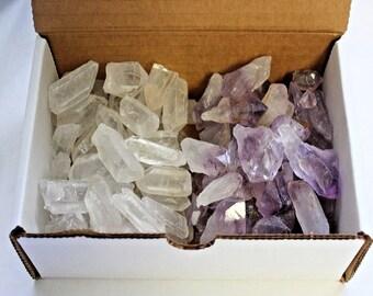 Amethyst & Clear Quartz Points: 2 Crystal Collection, 1/2 Lb Box (8 oz, Amethyst Points, Clear Quartz Points, Natural Points)