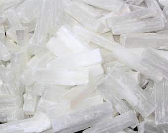 "2.5"" - 3"" Selenite Sticks: Choose Amount 8 oz, 1 2 3 5 10 or 15 lb Bulk Wholesale Lot (Mini Selenite Logs Crystal Sticks Wand Blade)"