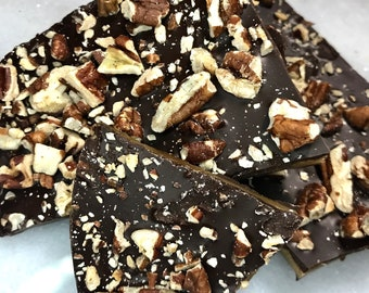English Toffee Candy • FATHER'S DAY GIFT • Dark Chocolate, Toasted Pecans • Homemade Toffee Brittle Candy • Perfect Snack