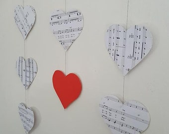 Personalised Sheet Music Heart Wall Hanging/ Ceiling Decoration