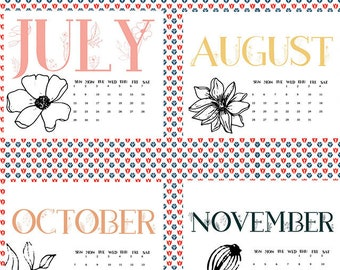 Monthly minimalist floral calendar, july through december, end of year calendar, monthly calendar, wall calendar, 8x10 calendar