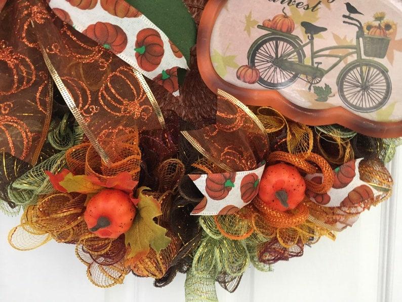 Hello Fall Wreath Fall Wreath Autumn Wreath Vintage Fall Wreath Thanksgiving Wreath Pumpkins Orange brown Wreath Sunflower