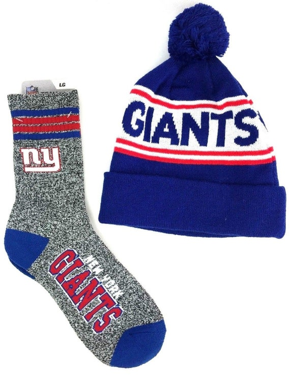 NFL New York Giants Cuff Pom Stocking Hat and Gray Quarter  b0a507dd761