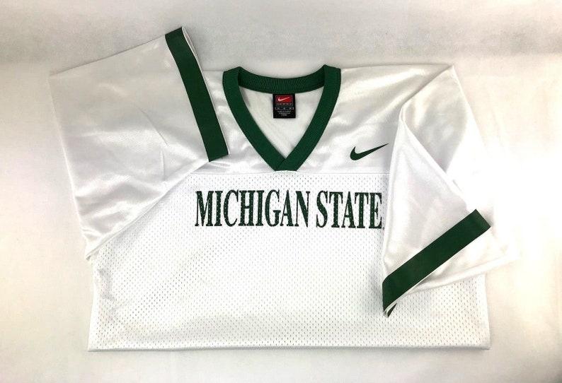 purchase cheap 3cbf7 e7776 Michigan State Spartans NCAA Football Blank Replica Jersey White with Green