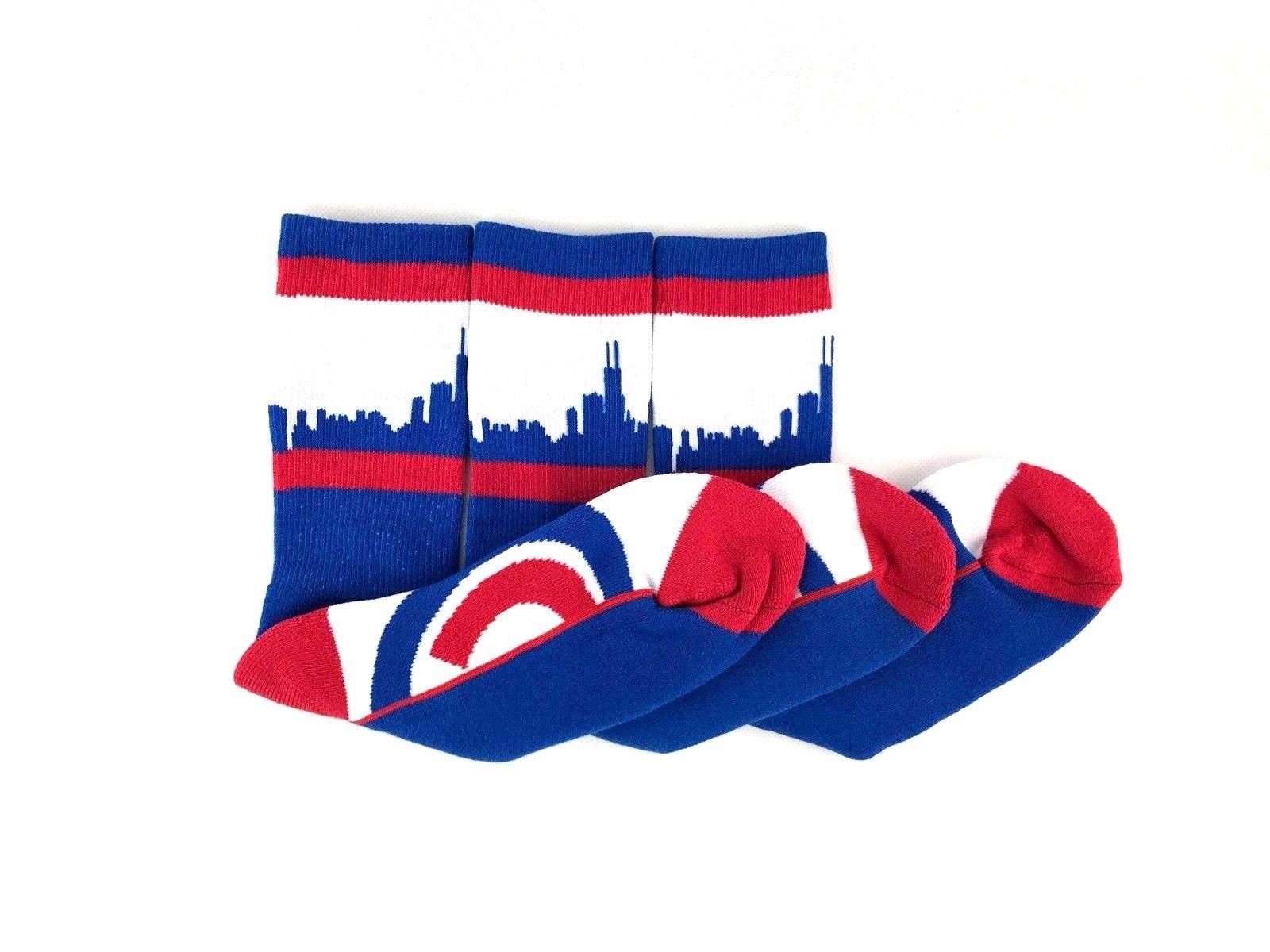 ca9313df MLB Chicago Cubs Chicago City Skyline Crew Socks 3 Pack Gift Set