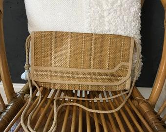 Vintage Crossbody Tan Straw Weave Envelope Purse